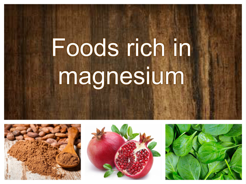 foods that contain magnesium spinach cacao pomegranate