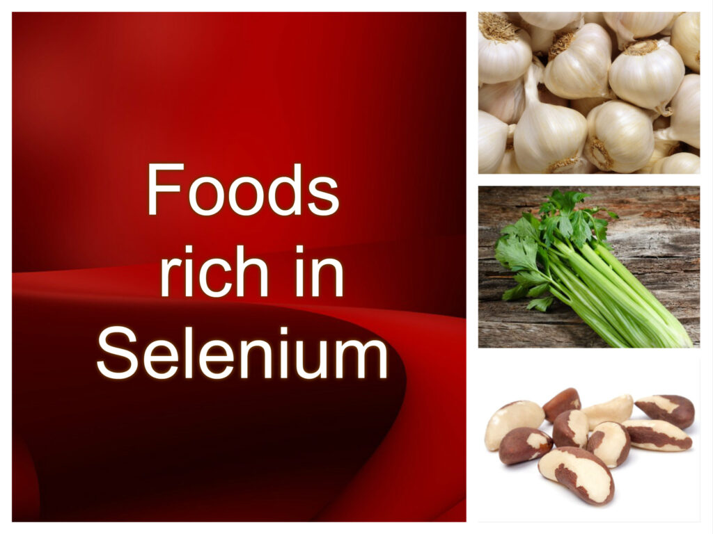 celery brazil nuts and garlic selenium red background